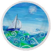 Sailing By Jan Marvin Round Beach Towel