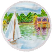 Sailing By The Bridge Round Beach Towel