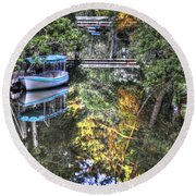 Round Beach Towel featuring the photograph Sailing Down The River by Deborah Klubertanz