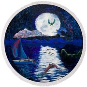 Sailing In The Moonlight Round Beach Towel