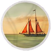 Sailing Into The Sun Round Beach Towel