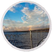 Sailing Lahaina Bay Round Beach Towel