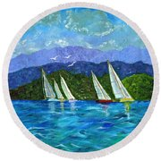 Sailing Round Beach Towel by Laura Forde