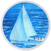 Sailing Off The Coast Round Beach Towel