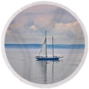 Sailing On A Misty Morning Art Prints Round Beach Towel by Valerie Garner
