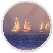Sailing On A Misty Ocean Round Beach Towel