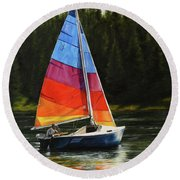 Sailing On Flathead Round Beach Towel