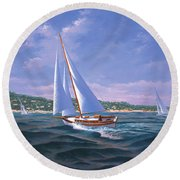 Sailing On Monterey Bay Round Beach Towel