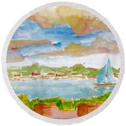 Sailing On The River Round Beach Towel