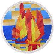 Round Beach Towel featuring the painting Sailing On The Seven Seas So Blue by Tracey Harrington-Simpson