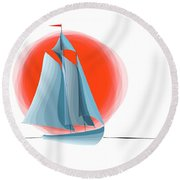 Sailing Red Sun Round Beach Towel