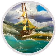 Round Beach Towel featuring the painting Sailing Ship In A Storm by Pamela  Meredith