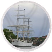 Sailing Ship In Harbor Round Beach Towel