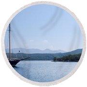 Sailing Ship In The Adriatic Islands Round Beach Towel