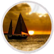 Sailing The Keys Round Beach Towel by Iconic Images Art Gallery David Pucciarelli