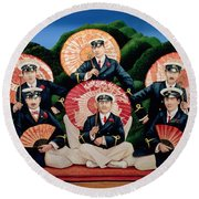 Sailors With Umbrellas Round Beach Towel