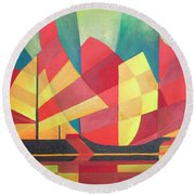 Round Beach Towel featuring the painting Sails And Ocean Skies by Tracey Harrington-Simpson