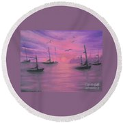 Sails At Dusk Round Beach Towel
