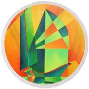 Round Beach Towel featuring the painting Sails At Sunrise by Tracey Harrington-Simpson