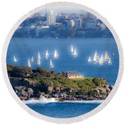 Round Beach Towel featuring the photograph Sails Out To Play by Miroslava Jurcik