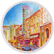Round Beach Towel featuring the painting Saint Catherine Street Montreal by Carole Spandau