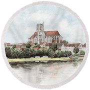 Saint-etienne A Auxerre Round Beach Towel by Marc Philippe Joly
