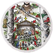 St. Francis And The Birds Round Beach Towel