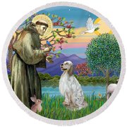 Saint Francis Blesses An English Setter Round Beach Towel
