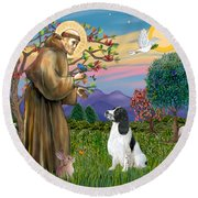 Saint Francis Blesses An English Springer Spaniel Round Beach Towel