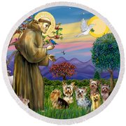 Saint Francis Blesses Seven Yorkies Round Beach Towel