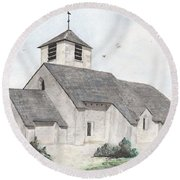 Saint-jean-baptiste A Chassignelles Round Beach Towel by Marc Philippe Joly