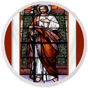 Saint Joseph  Stained Glass Window Round Beach Towel