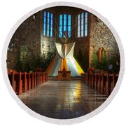 Saint Josephs Apache Mission Round Beach Towel by Bob Christopher