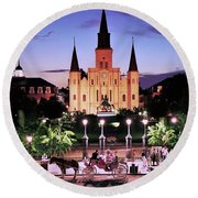 Saint Louis Cathedral New Orleans Round Beach Towel by Allen Beatty