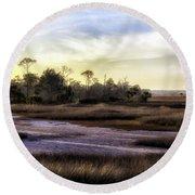 Saint Marks Wetland Sunset Round Beach Towel by Lynn Palmer