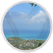 Saint Martin Panorama - Looking Down On Sint Maarten Round Beach Towel