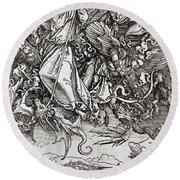 Saint Michael And The Dragon Round Beach Towel