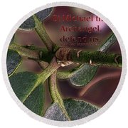 Round Beach Towel featuring the photograph Saint Michael The Archangel by Jean OKeeffe Macro Abundance Art