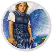 Saint Michael The Archangel Round Beach Towel