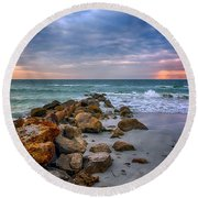 Saint Pete Beach Stormy Sunset Round Beach Towel