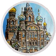 Saint Petersburg Russia The Church Of Our Savior On The Spilled Blood Round Beach Towel