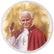 Saint Pope John Paul II Round Beach Towel