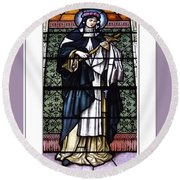 Saint Rose Of Lima Stained Glass Window Round Beach Towel