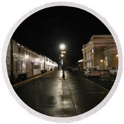 Round Beach Towel featuring the photograph Salem Amtrak Depot At Night by James B Toy