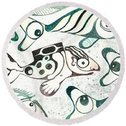 Salmon Boy The Swimmer Round Beach Towel