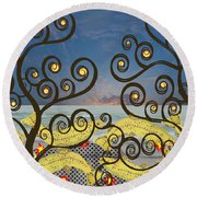 Round Beach Towel featuring the digital art Salmon Dance Blue by Kim Prowse