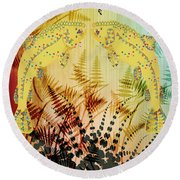 Salmon Love Gold Round Beach Towel by Kim Prowse