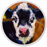 Salt And Pepper Cow 2 Round Beach Towel
