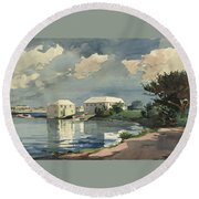 Round Beach Towel featuring the painting Salt Kettle Bermuda by Winslow Homer