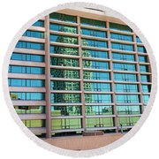 Round Beach Towel featuring the photograph Salt Lake City Architecture Reflection by Ely Arsha